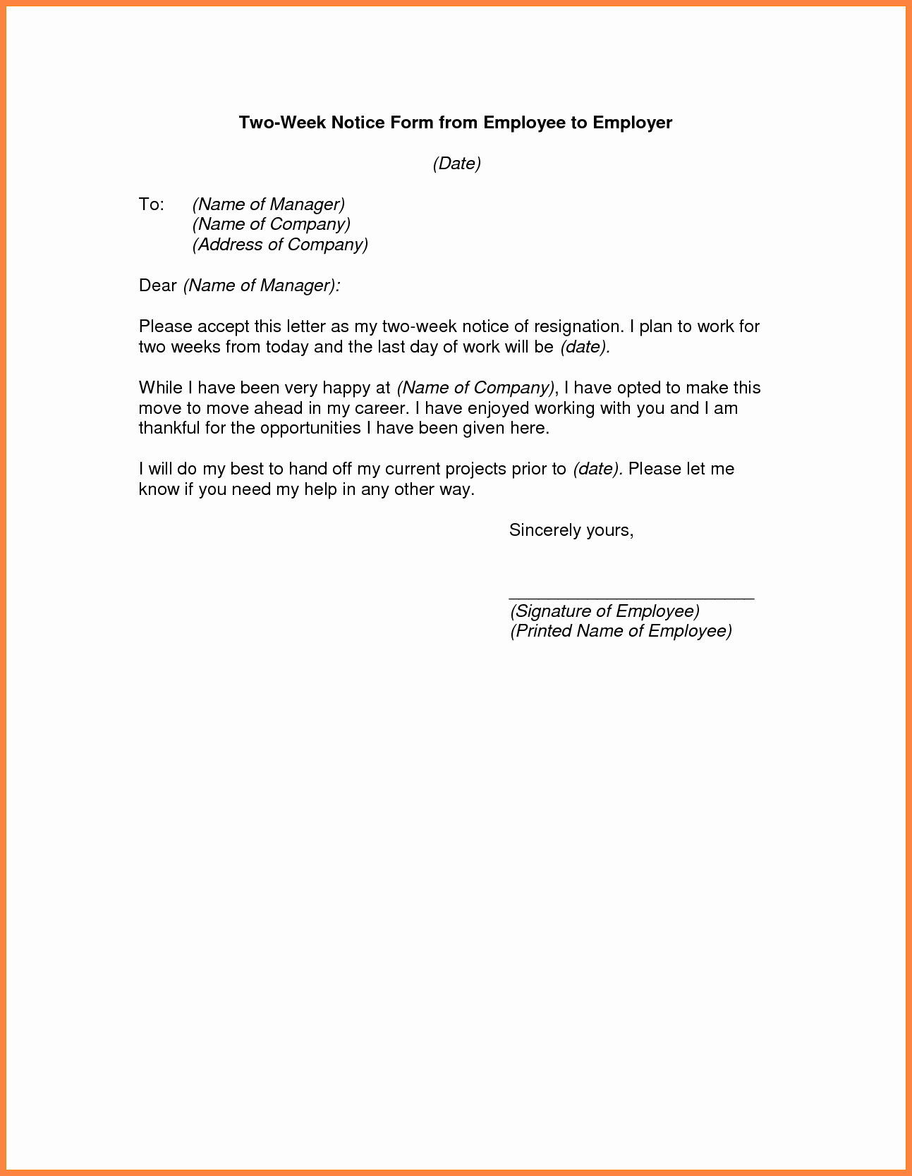2 Week Notice Template Word Awesome 3 Example Of A Professional Two Weeks Notice