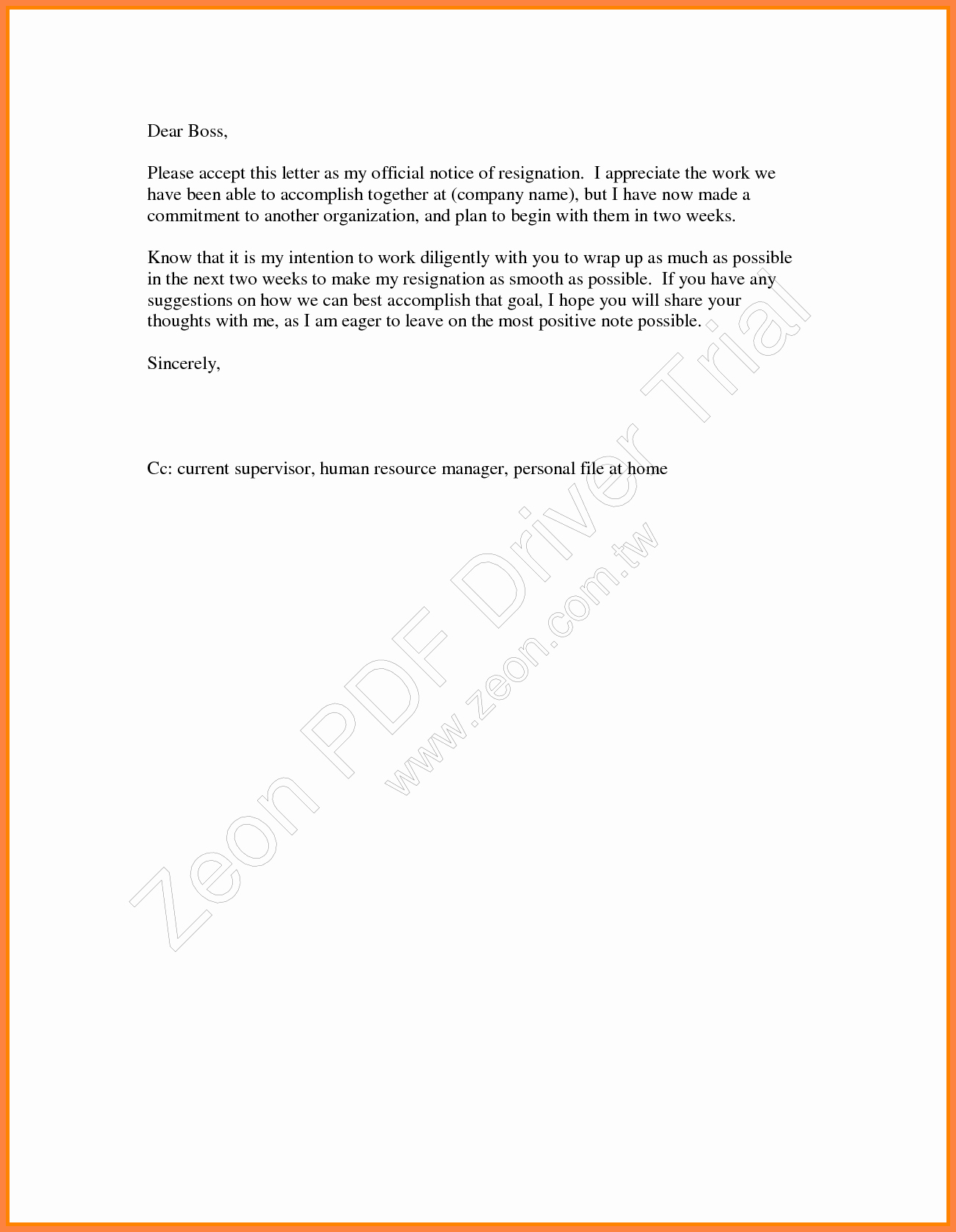 2 Week Notice Template Word Awesome 5 Week Notice Letter Template Word
