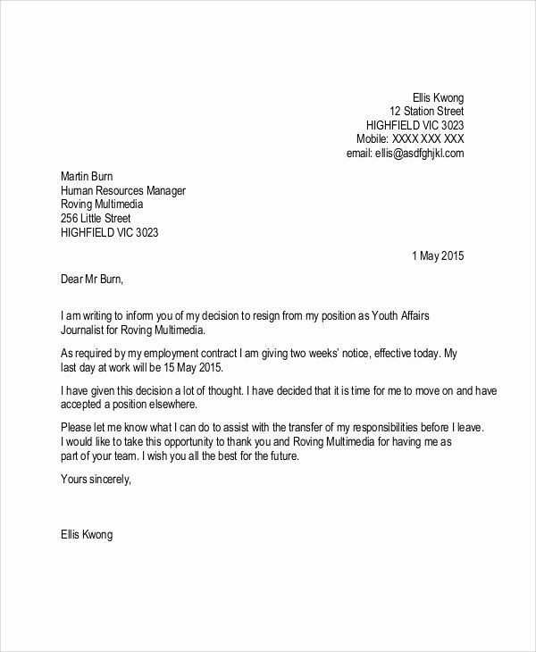 2 Week Notice Template Word Best Of Sample Resignation Letter with 2 Week Notice 6 Examples