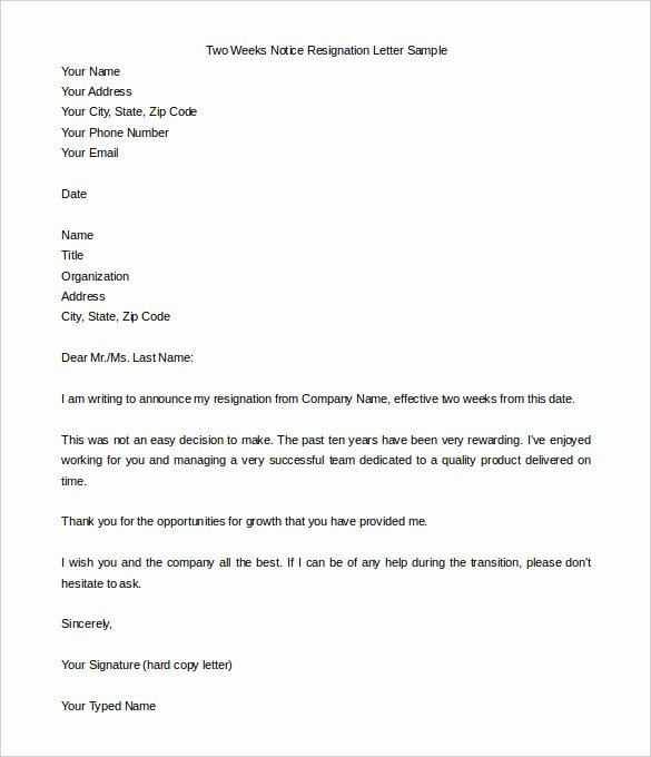 2 Week Notice Template Word Inspirational New Sample Resignation Letter In Word Doc