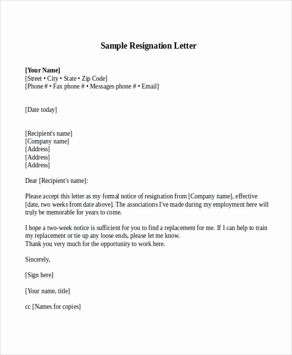 2 Week Notice Template Word Lovely Sample Resignation Letter with 2 Week Notice 6 Examples