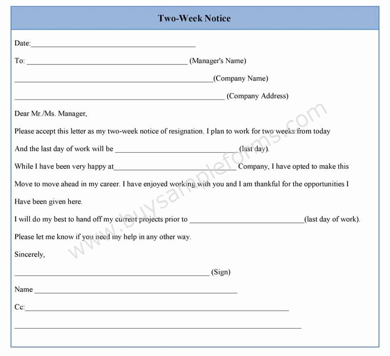 2 Week Notice Template Word Lovely Two Week Notice form Template In Word Sample format