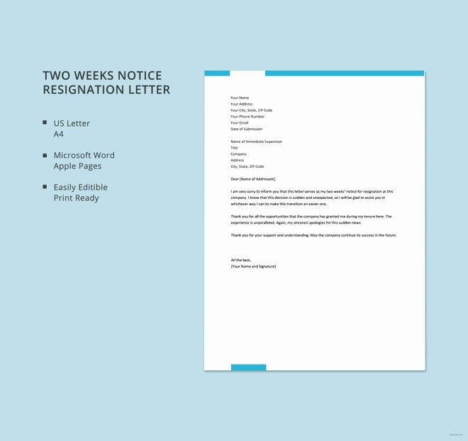 2 Week Notice Template Word Luxury 9 Two Week Notice Resignation Letter Templates Free