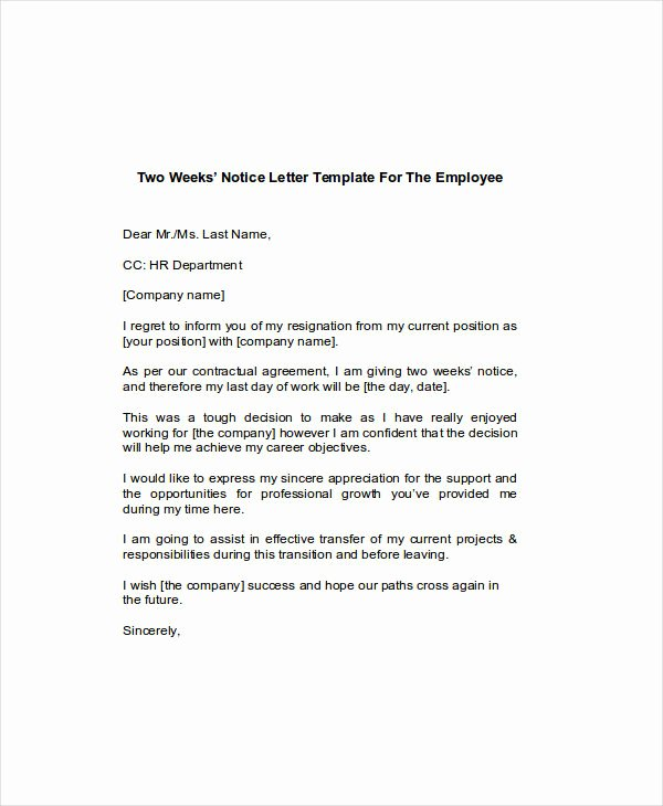 2 Week Notice Template Word Luxury Free 6 Two Weeks Notice Examples & Samples In Google Docs
