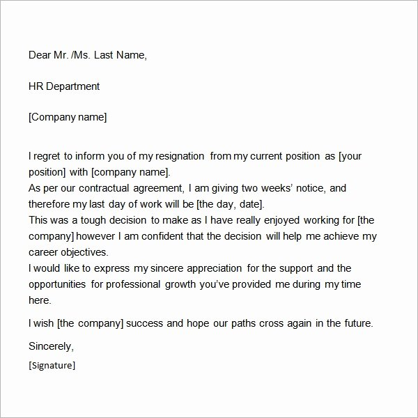 2 Week Notice Template Word Luxury Two Weeks Notice Letter 12 Download Free Documents In Word