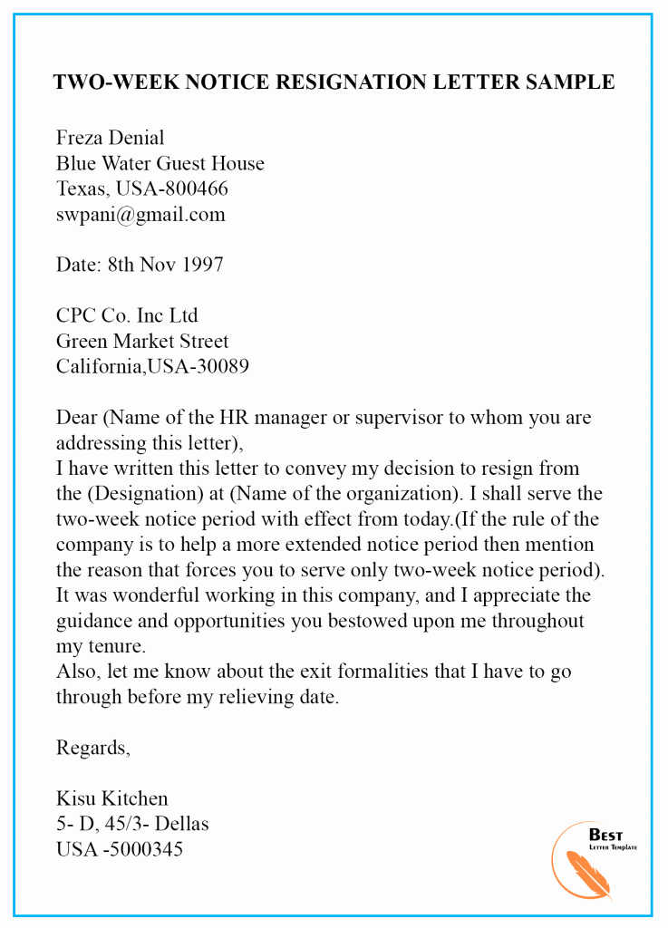 2 Week Notice Template Word New Sample Resignation Letter Template with & without Notice