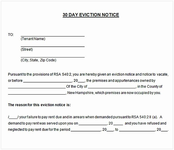 30 Day Eviction Notice Template Best Of 30 Day Notice to Tenant Pdf