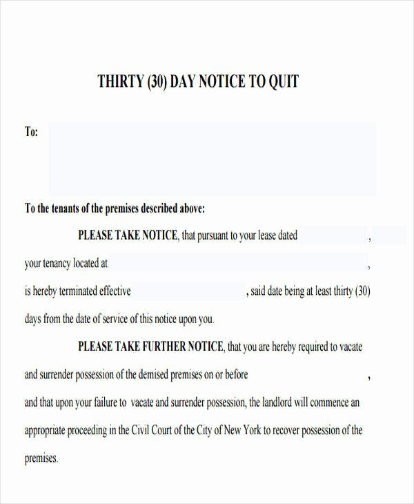 30 Day Eviction Notice Template Elegant 32 Eviction Notice Templates Pdf Google Docs Ms Word