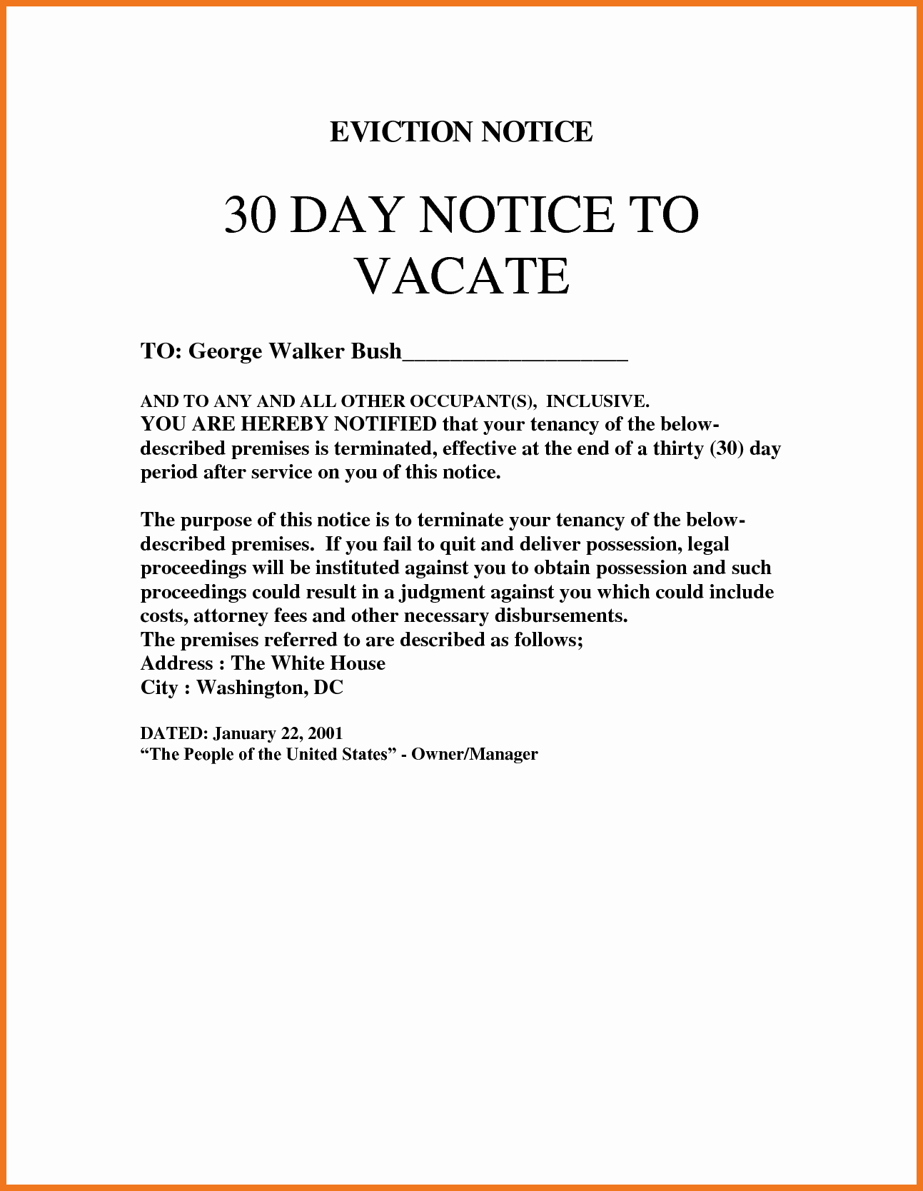 30 Day Eviction Notice Template Inspirational 10 11 30 Day Notice to Vacate Letter