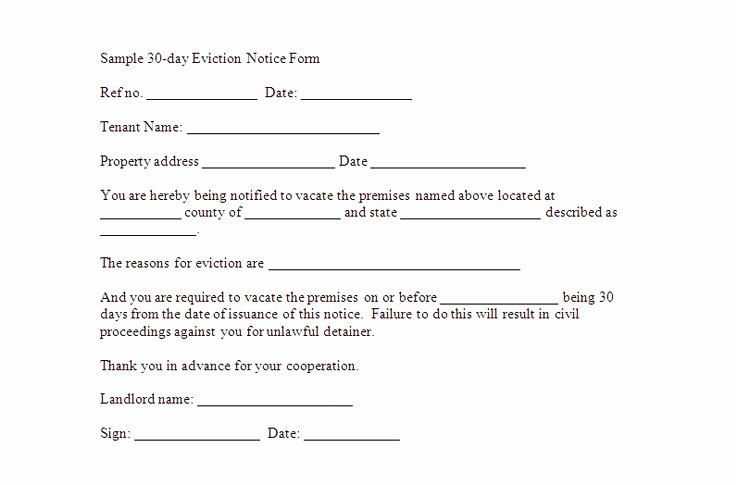 30 Day Eviction Notice Template Lovely 30 Day Notice to Vacate Template