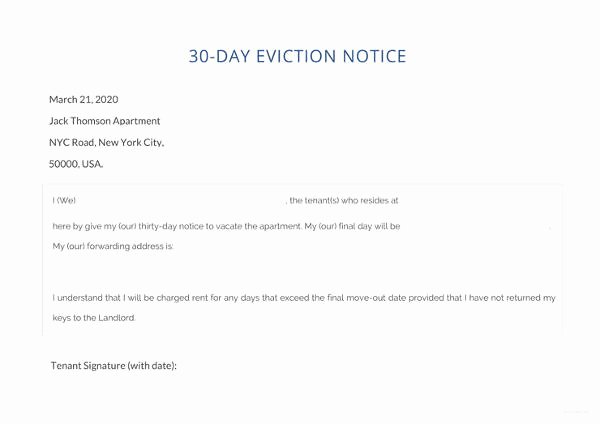 30 Day Eviction Notice Template Luxury 37 Eviction Notice Templates Doc Pdf