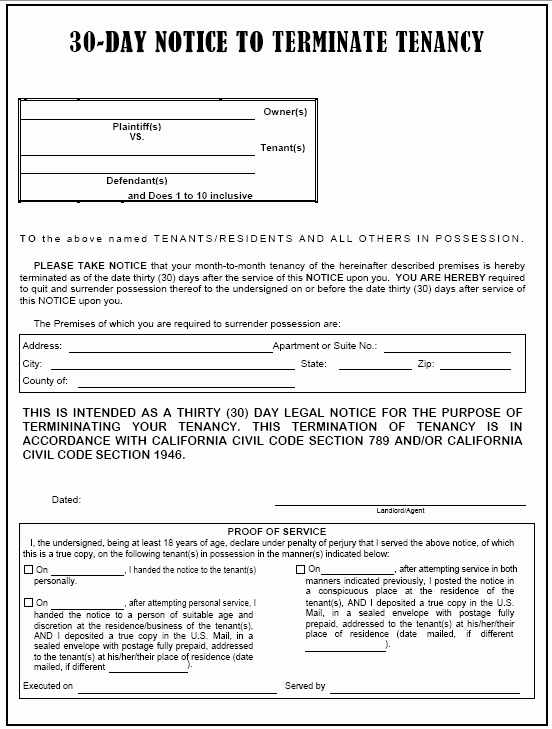 30 Day Eviction Notice Template New 30 Day Eviction Notice