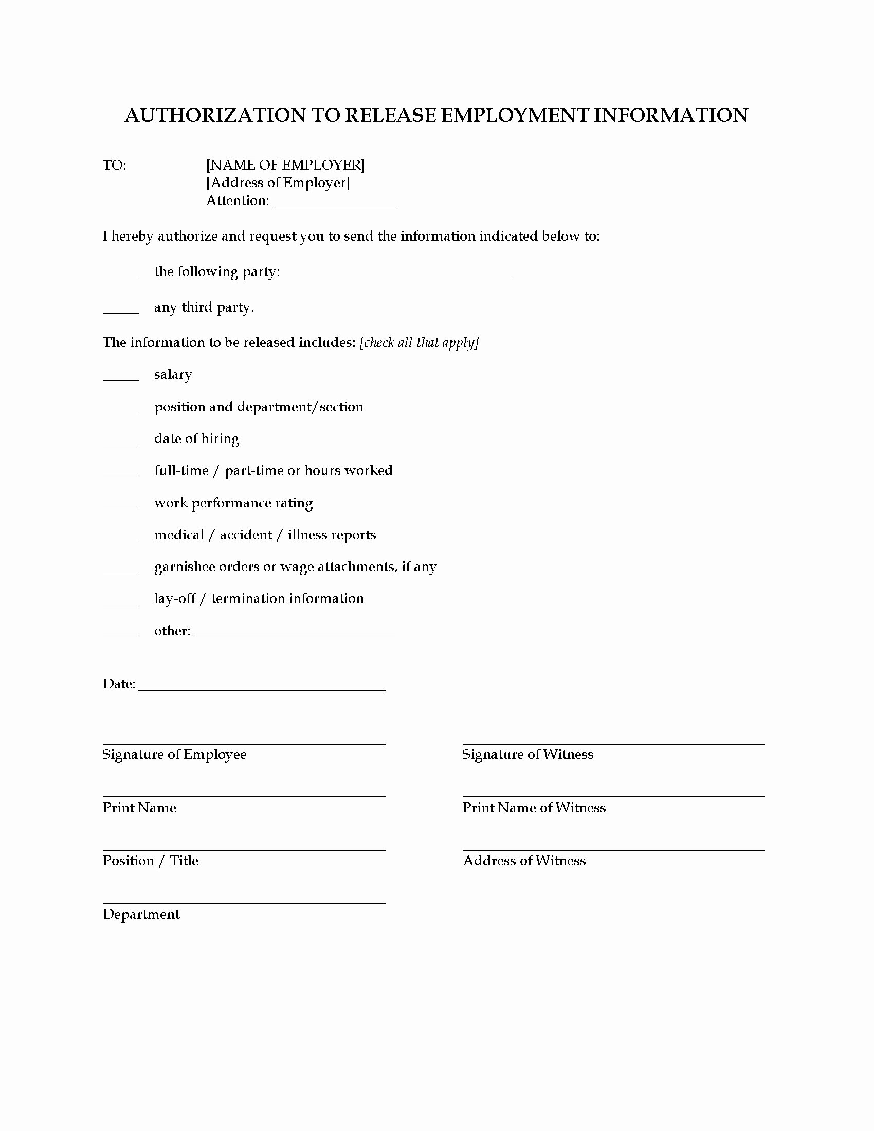 3rd Party Authorization form Template Awesome Consent to Release Employment Information