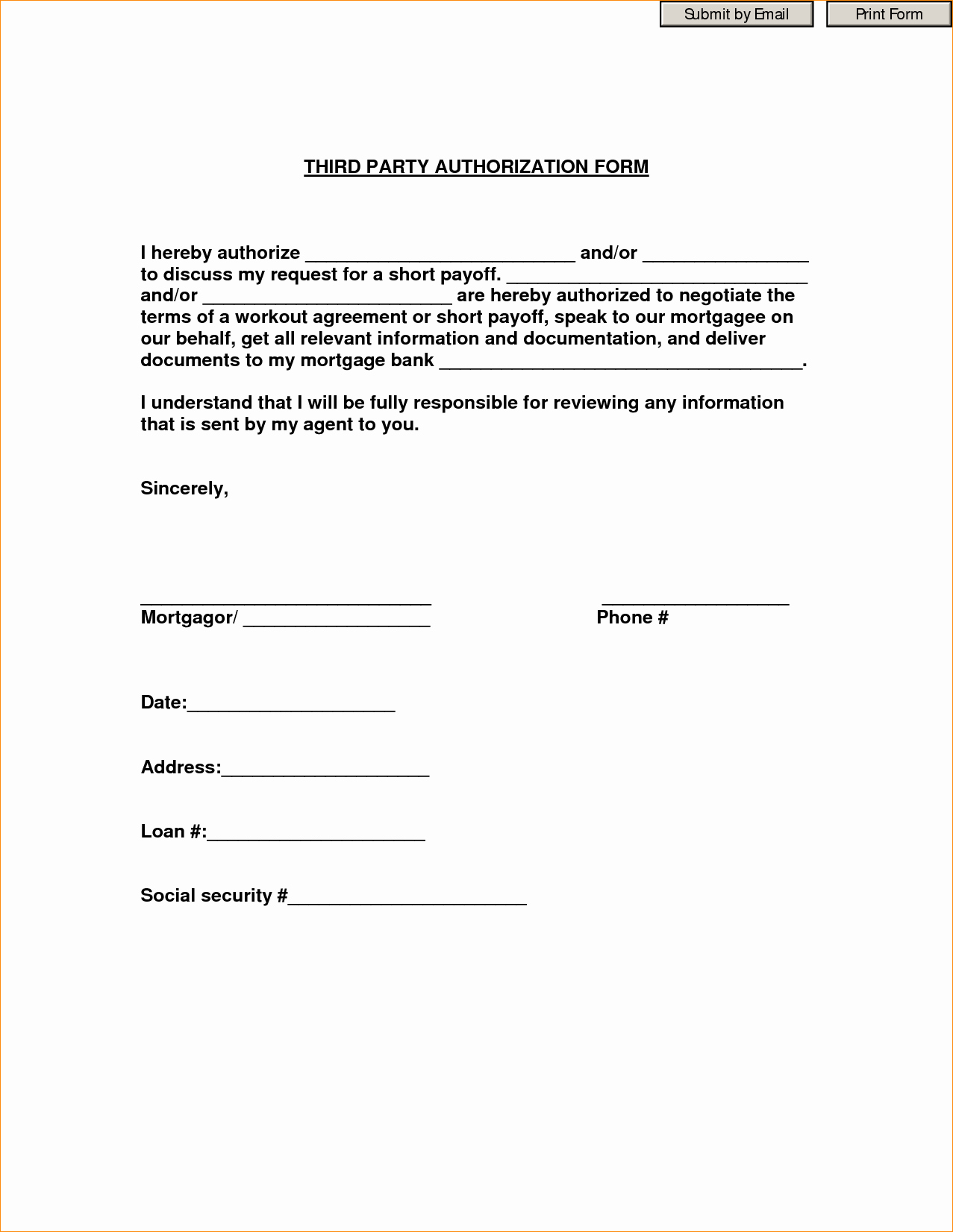 3rd Party Authorization form Template Best Of 27 Of 3rd Party Authorization form Template