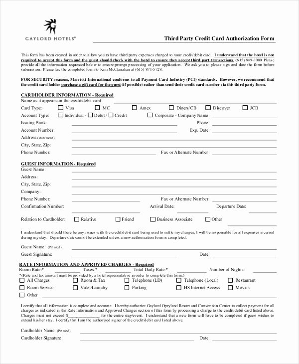 3rd Party Authorization form Template Best Of Free 12 Sample Credit Card Authorization forms In Pdf