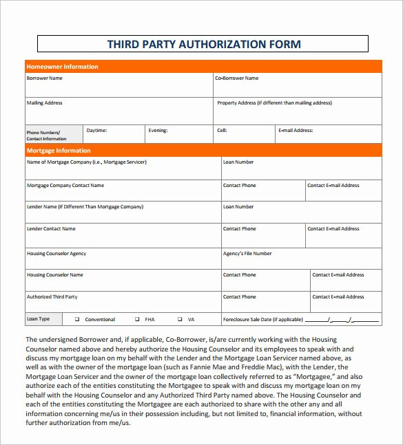 3rd Party Authorization form Template Elegant Sample Third Party Authorization Letter – 8 Free