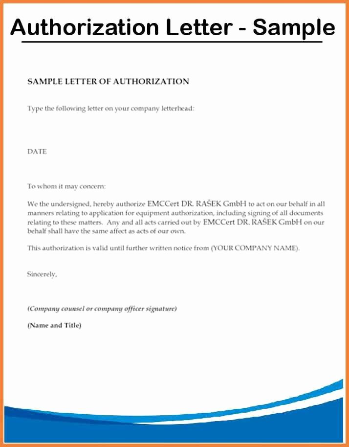 3rd Party Authorization form Template Inspirational Authorization Letter