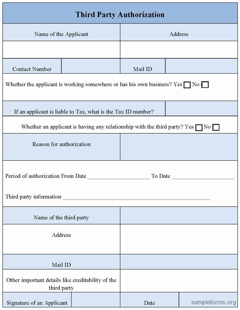 3rd Party Authorization form Template Inspirational Third Party Authorization form Sample forms