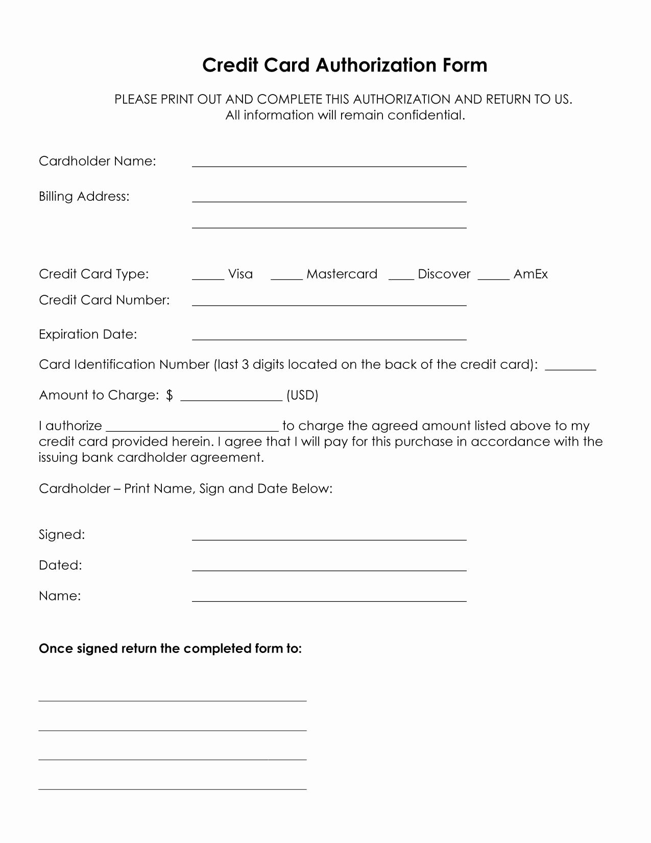 3rd Party Authorization form Template Lovely Authorization for Credit Card Use Free forms Download