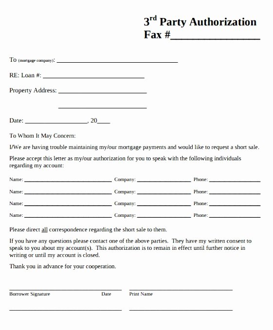 3rd Party Authorization form Template New 8 Third Party Consent form Template Uytpa
