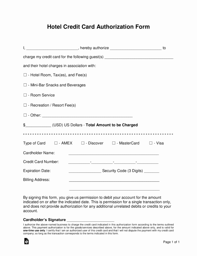 3rd Party Authorization form Template New Free Hotel Credit Card Authorization forms Word