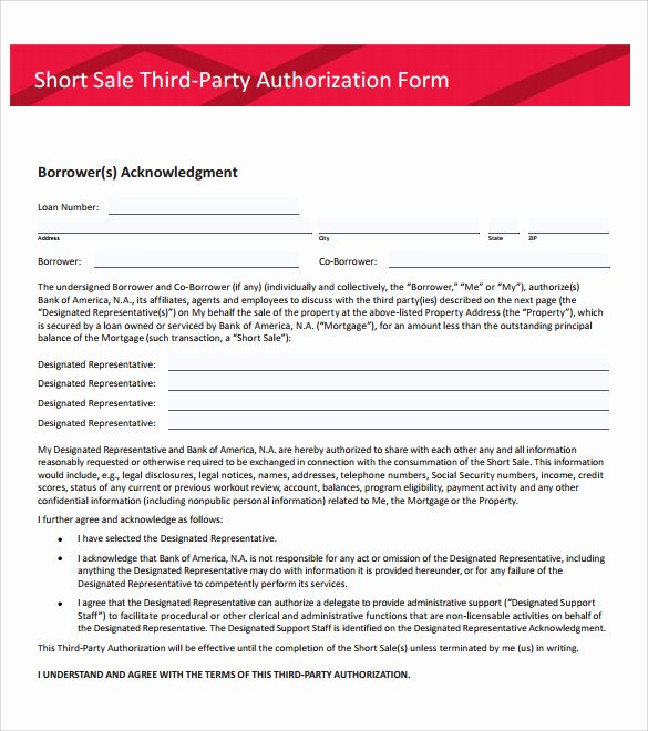 3rd Party Authorization form Template New Sample Third Party Authorization Letter – 8 Free