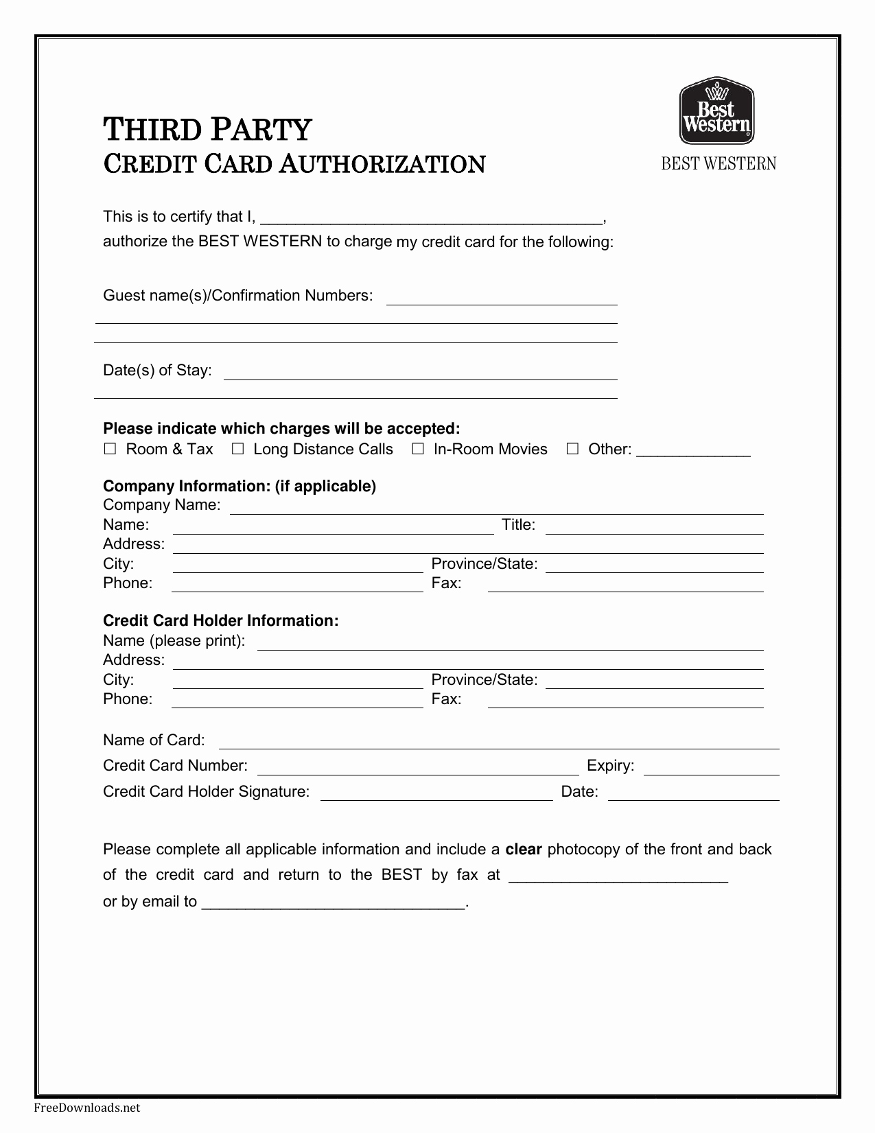 3rd Party Authorization form Template Unique Download Best Western Credit Card Authorization form
