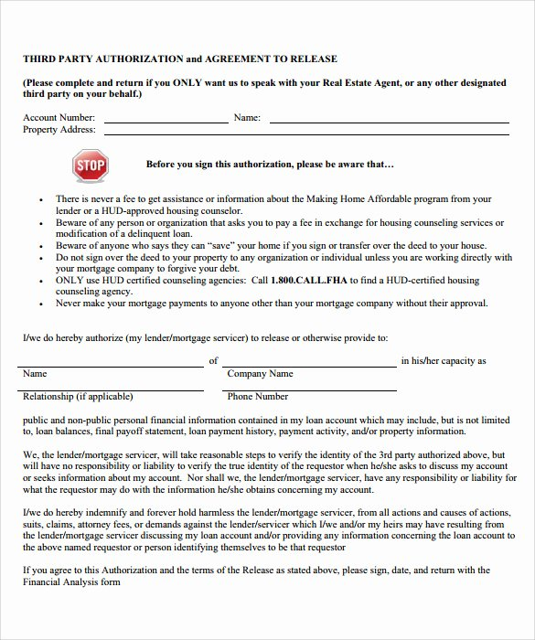 3rd Party Authorization form Template Unique Sample Third Party Authorization Letter – 8 Free