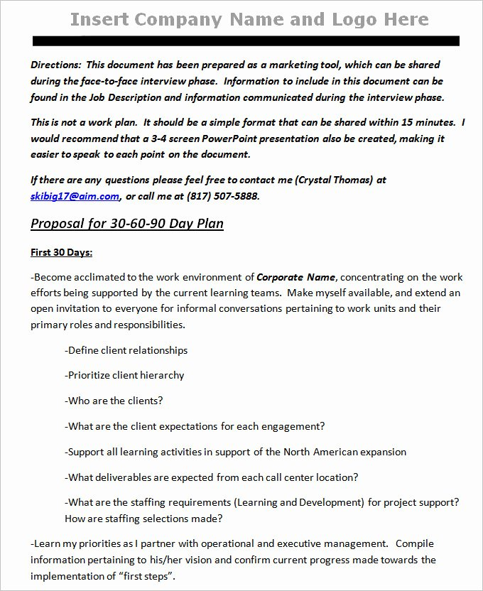 90 Day Action Plan Template Luxury 30 60 90 Day Plan Template Free Word Pdf Documents Download