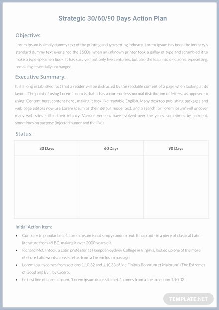 90 Day Action Plan Template Unique 30 60 90 Day Professional Development Plan Template In