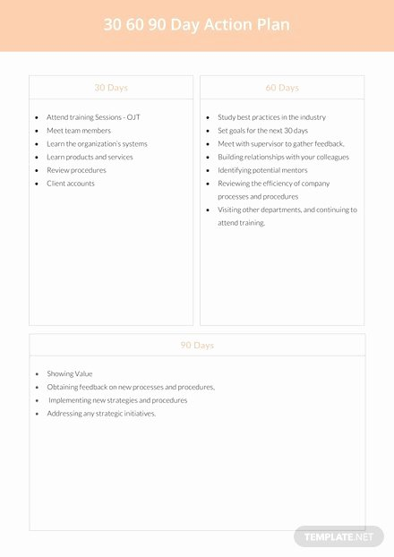 90 Days Action Plan Template Luxury 30 60 90 Day Plan Template In Microsoft Word