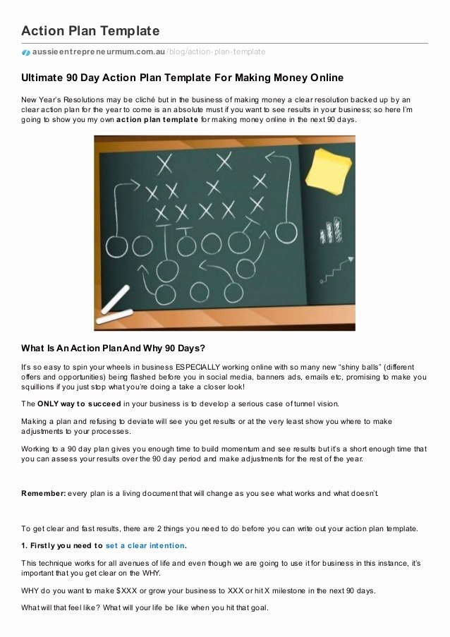 90 Days Action Plan Template New the Ultimate Action Plan Template for Making Money Online
