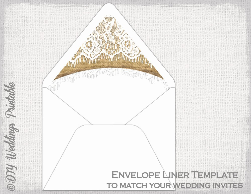 A7 Envelope Liner Template Beautiful Rustic Wedding Envelope Liner Template Burlap