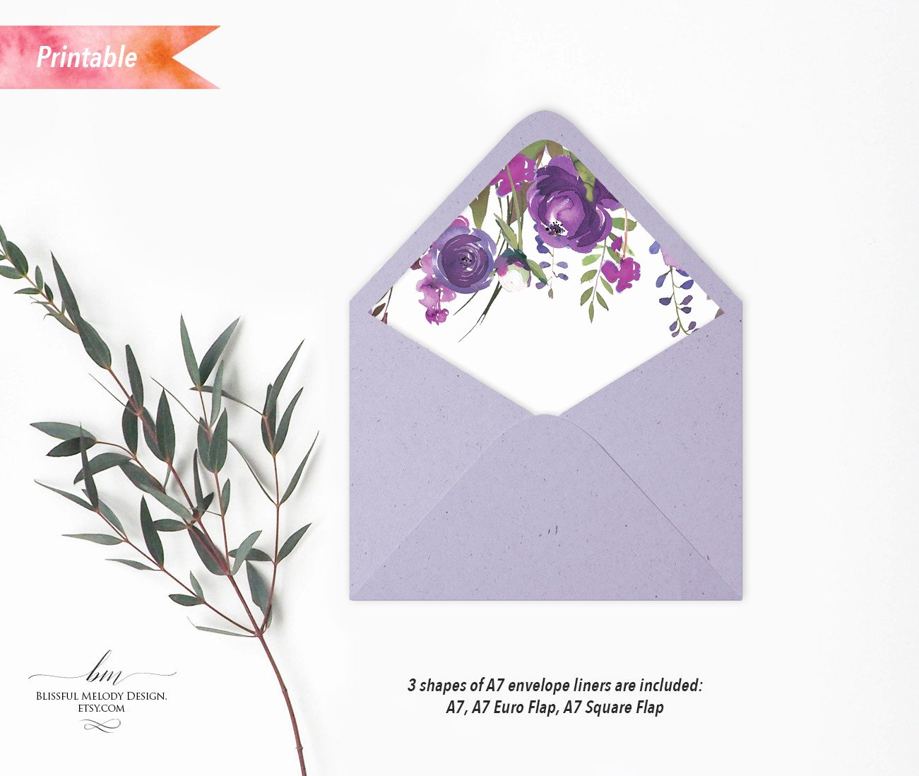 A7 Envelope Liner Template Lovely Printable Purple Lavender Floral A7 Envelope Liners