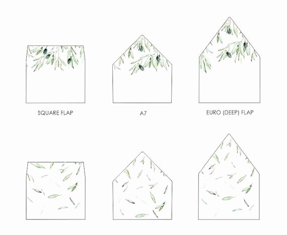 A7 Envelope Liner Template Luxury Olive Leaves Envelope Liner Template A7 Euro Flap Square