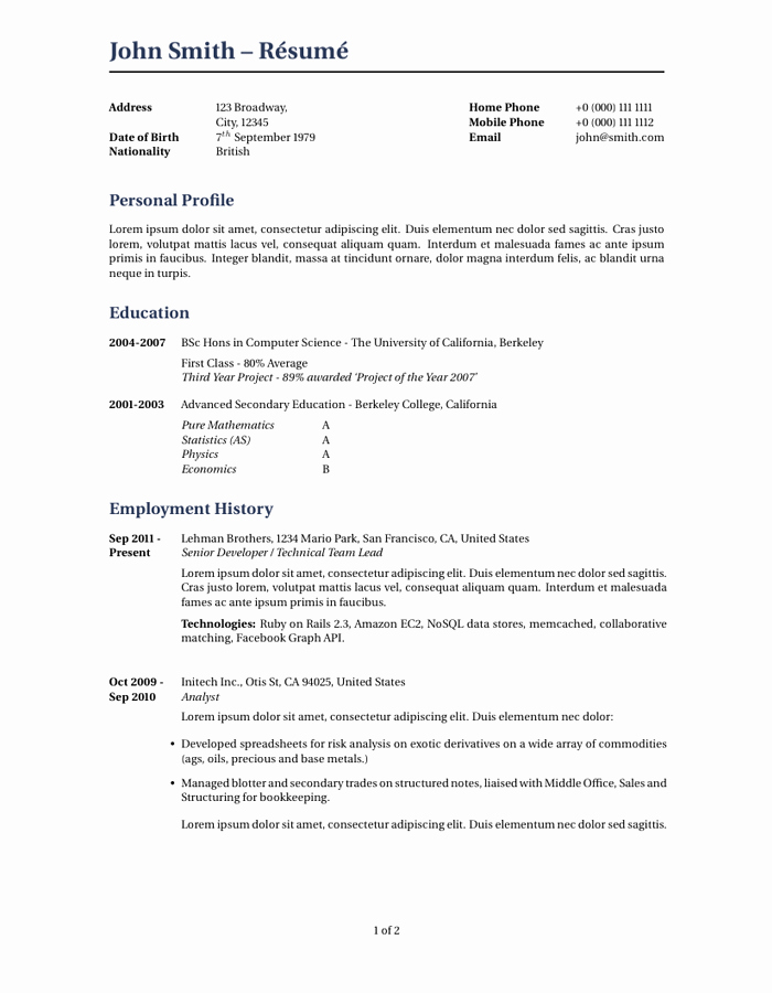 Academic Cv Template Word Beautiful Wilson Resume Cv Latex Template Cv Templates