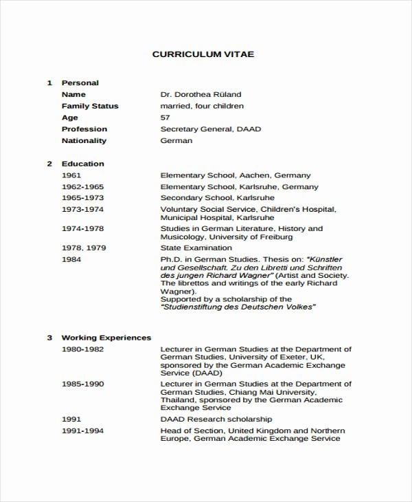 Academic Cv Template Word Fresh 11 Academic Curriculum Vitae Templates Pdf Doc