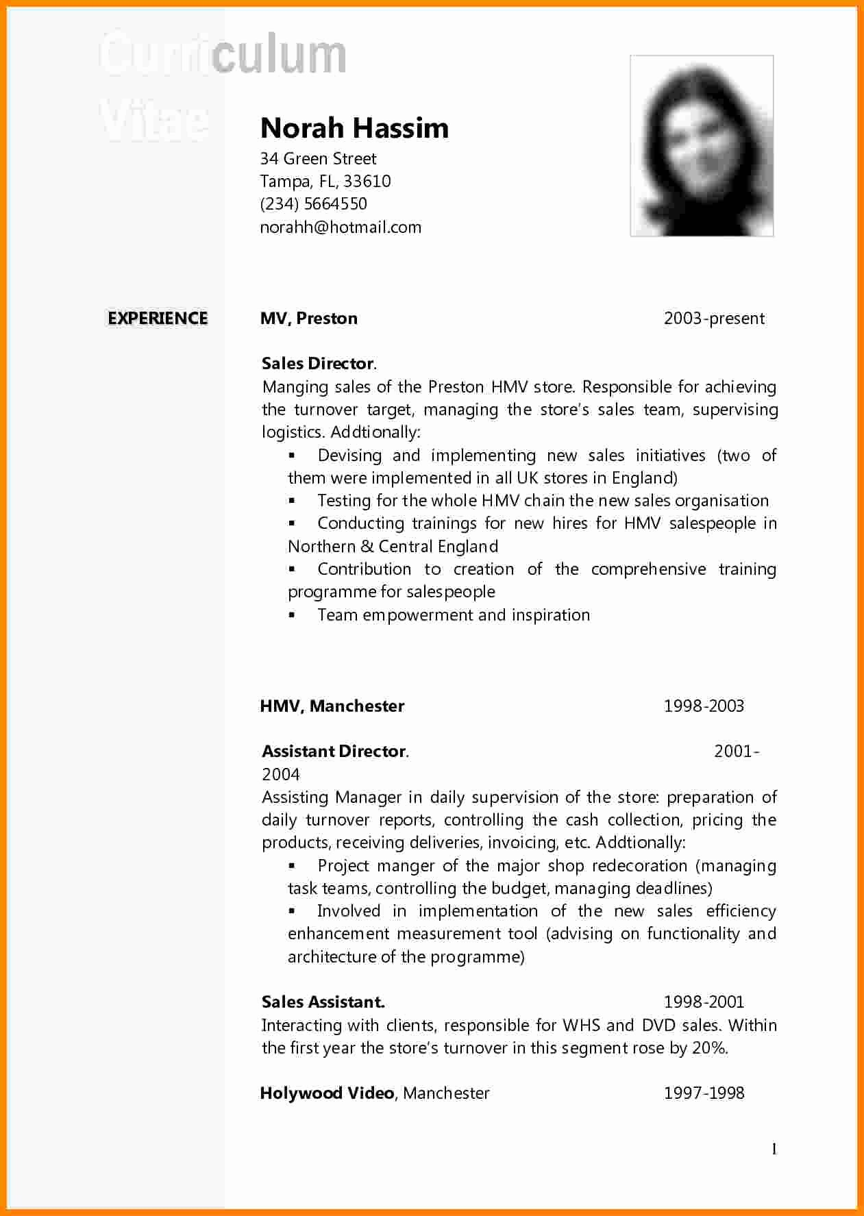 Academic Cv Template Word Lovely 11 Curriculum Vitae Example Doc