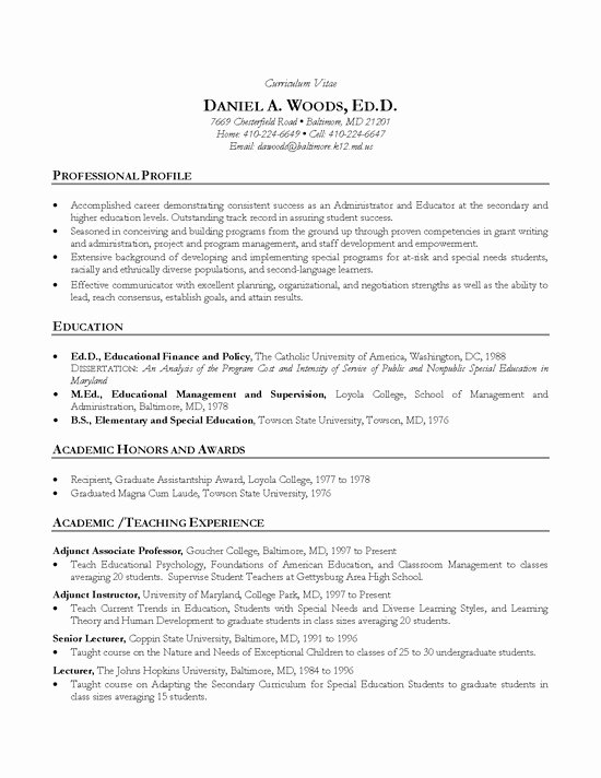 Academic Cv Template Word Luxury Academic Cv Example Teacher Professor
