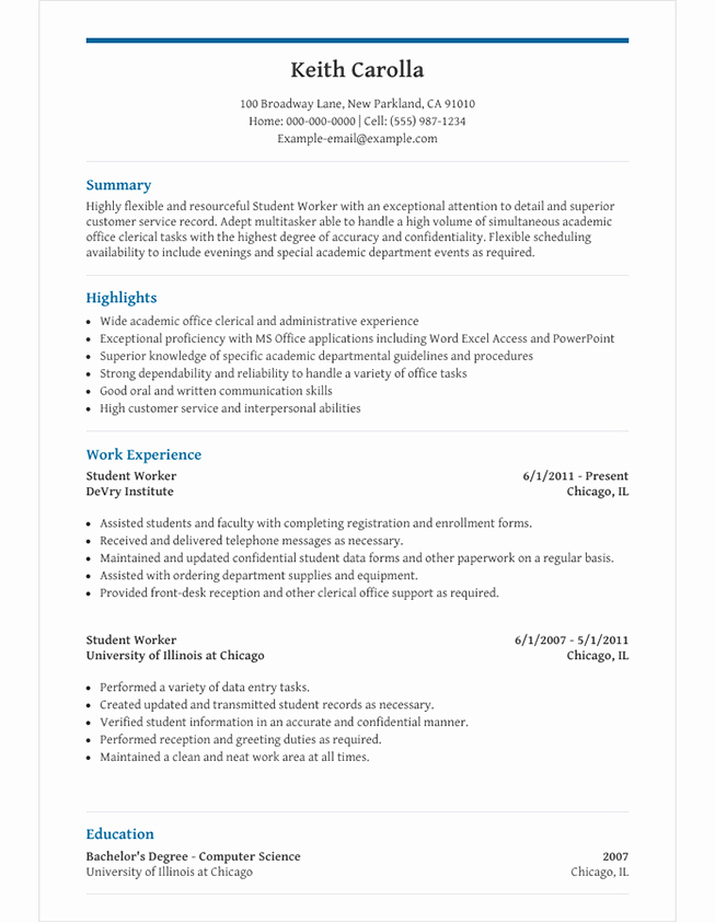 Academic Cv Template Word Luxury High School Student Resume Template for Microsoft Word