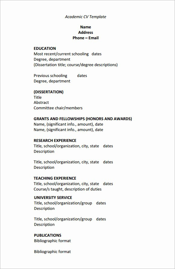 Academic Cv Template Word New Sample Academic Cv Template 8 Download Documents In Pdf