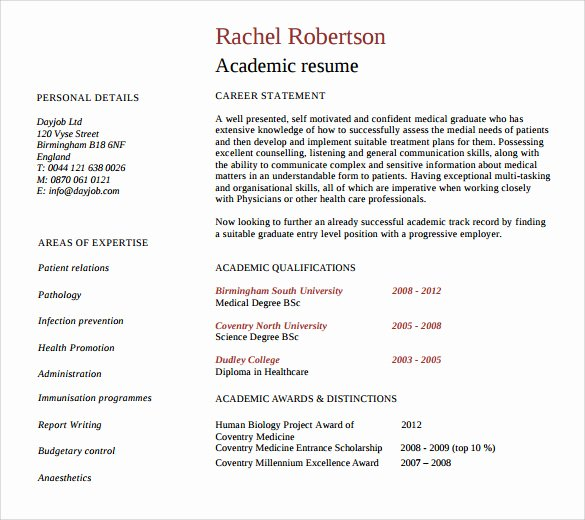 Academic Cv Template Word Unique Sample Academic Resume 8 Download Free Documents In