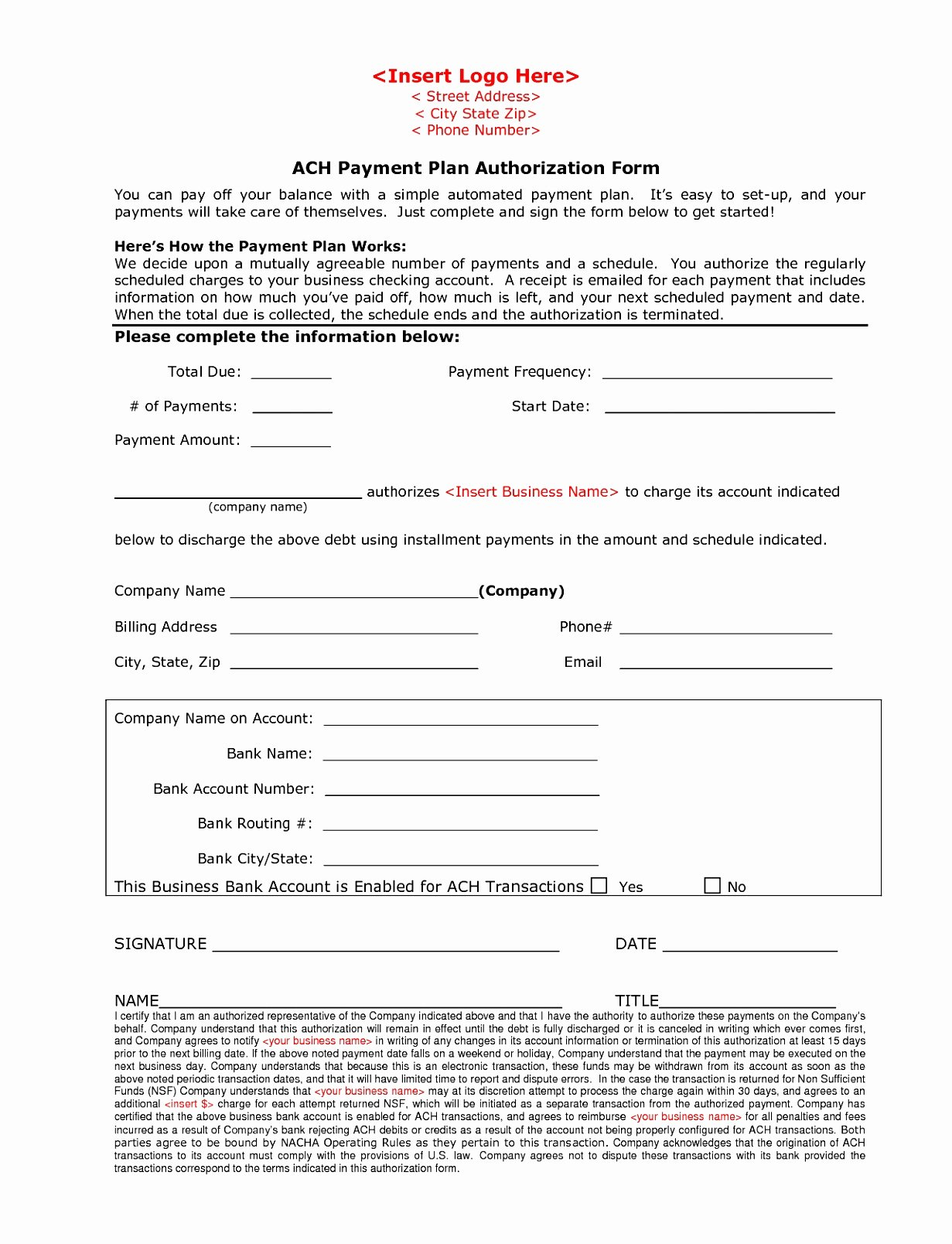 Ach Deposit Authorization form Template Best Of 12 Ach forms Templates Eaxah