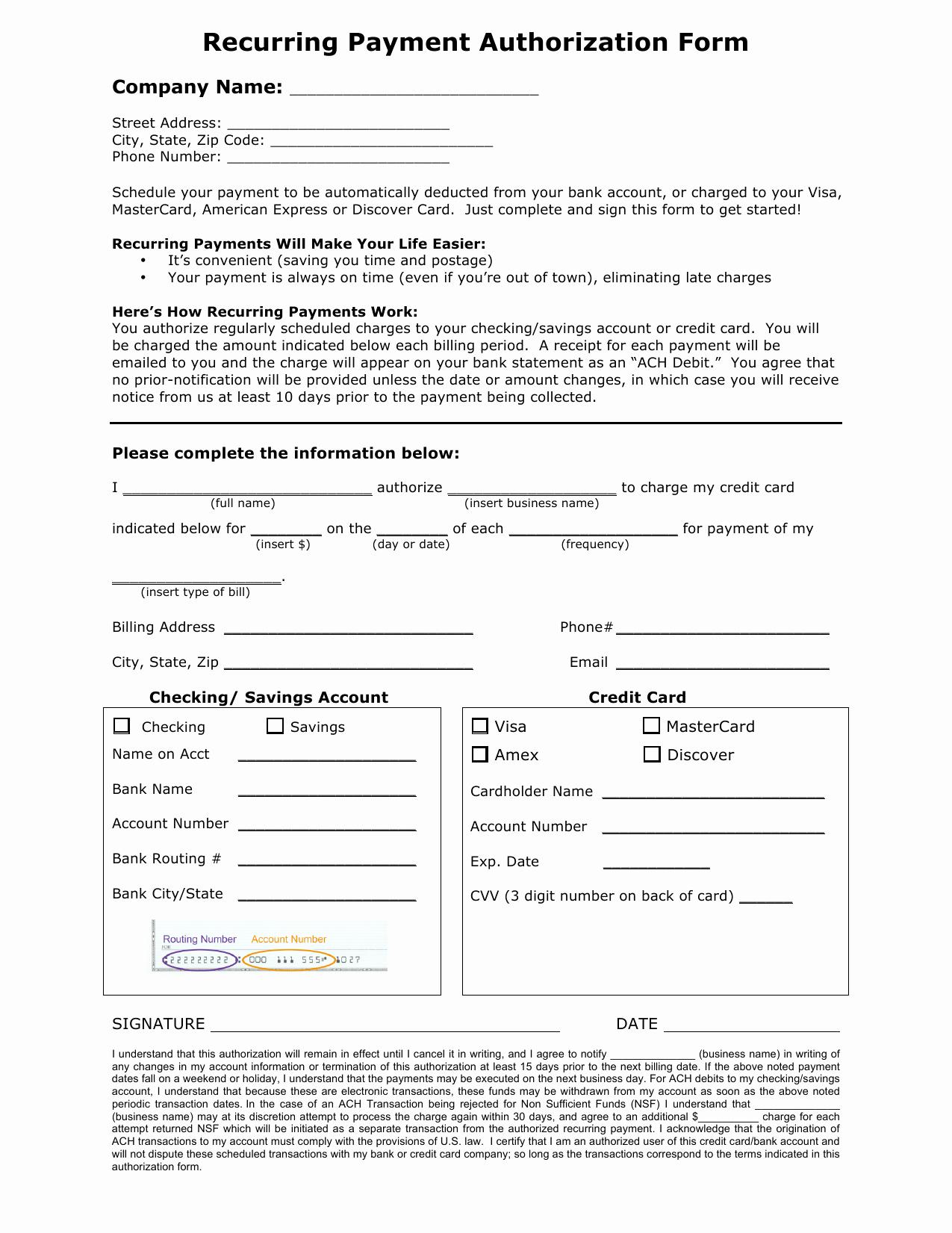 Ach Deposit Authorization form Template Best Of Download Recurring Payment Authorization form Template