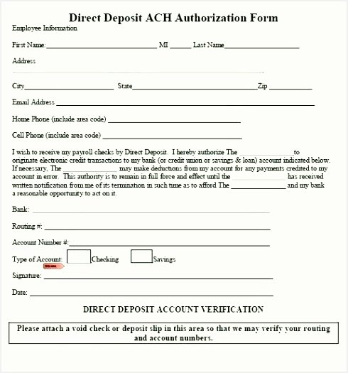 Ach Deposit Authorization form Template Elegant Ach form Template Word