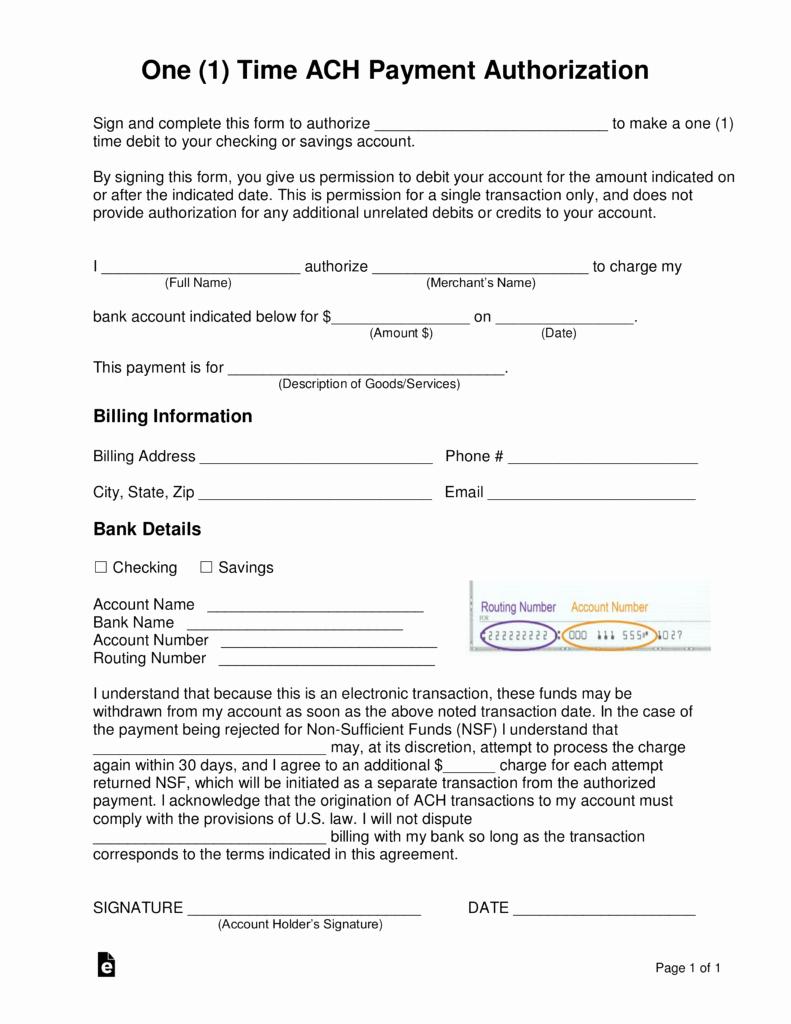 Ach Deposit Authorization form Template Elegant Free E 1 Time Ach Payment Authorization form Word