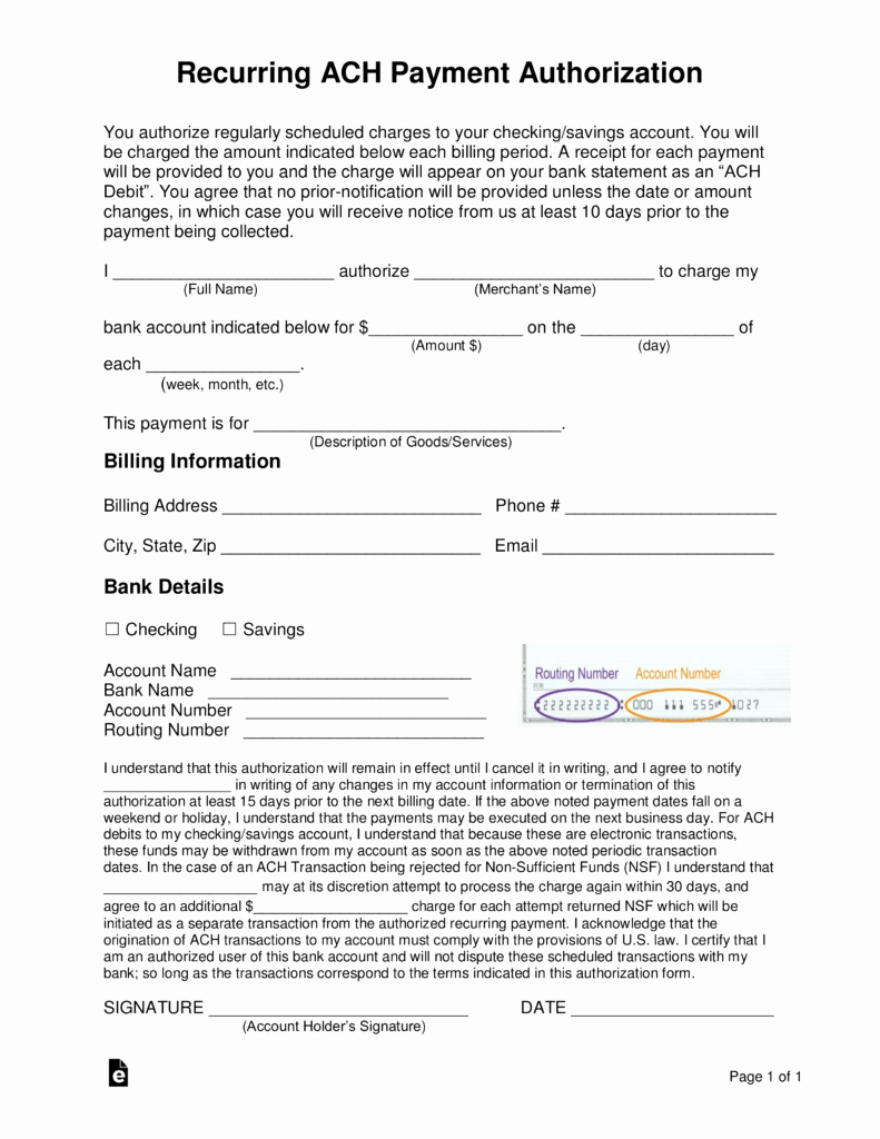 Ach Deposit Authorization form Template Fresh Free Recurring Ach Payment Authorization form Word