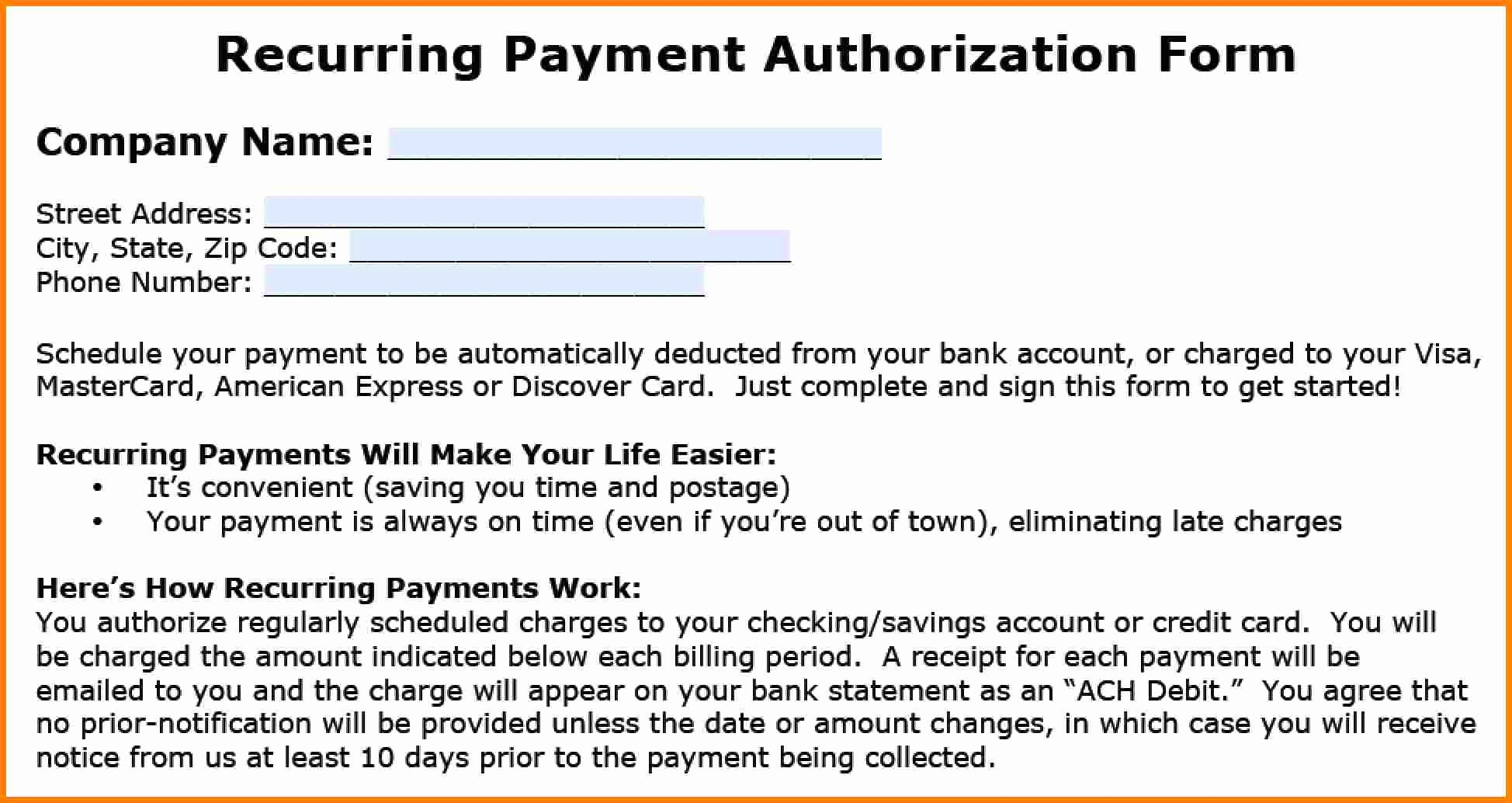 Ach Deposit Authorization form Template Inspirational 10 Ach Payment form Template