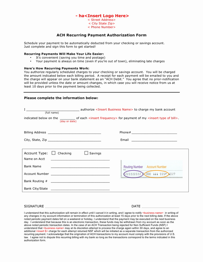 Ach Deposit Authorization form Template Lovely Ach Recurring Payment Authorization form In Word and Pdf