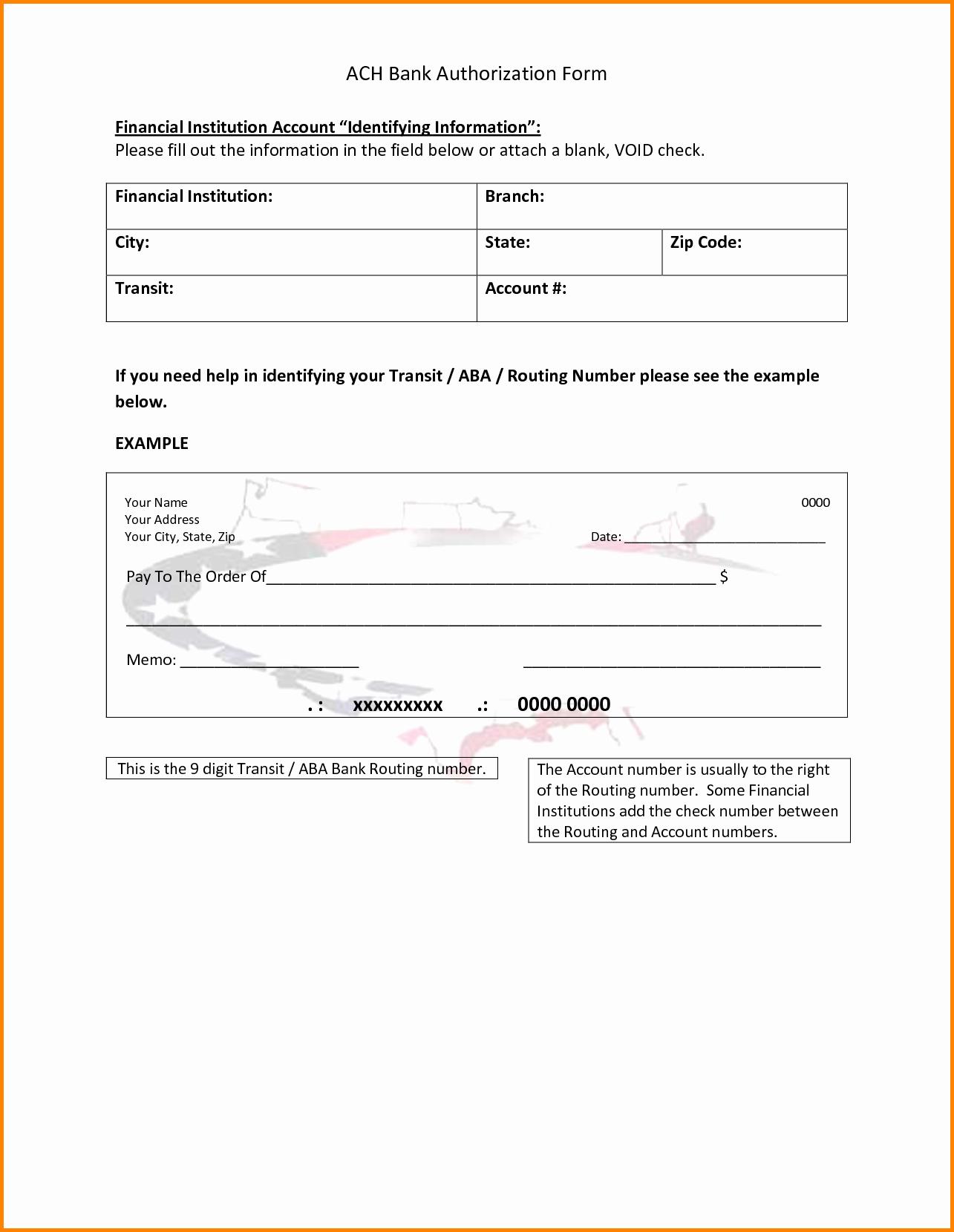 Ach Deposit Authorization form Template Luxury 30 Of Free Ach Authorization form Template